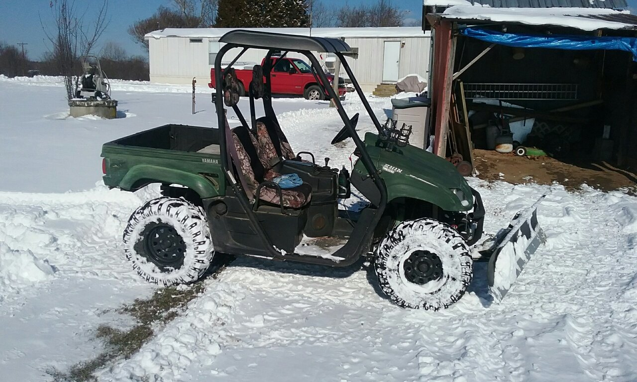 Yamaha Rhino Snow Plowing